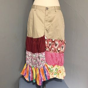 """""""Crazy Horse"""" Long Beige Skirt with Multi Designs"""